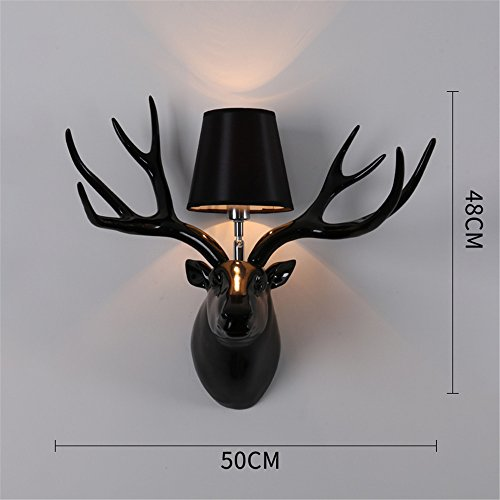 JhyQzyzqj Wall Sconce Wall Lights Nordic American Retro Creative Living Room Restaurant Corridor Aisle Personality Permanent and Wall Lights Antlers lamp Resin Wall Lights