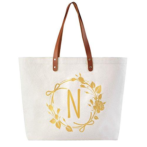 ElegantPark N Initial Personalized Gift Monogram Tote Bag with Interior Zip Pocket - Small Pocket Interior