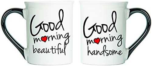 Good Morning Beautiful And Good Morning Handsome Mugs, Set Of Two Large Coffee Cups, Spouse Mugs, Valentine Gifts By Tumbleweed