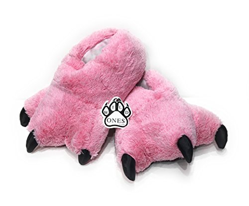 Wild Ones Furry Animal Claw Slippers For Toddlers, Kids and Adults Pink Flamingo