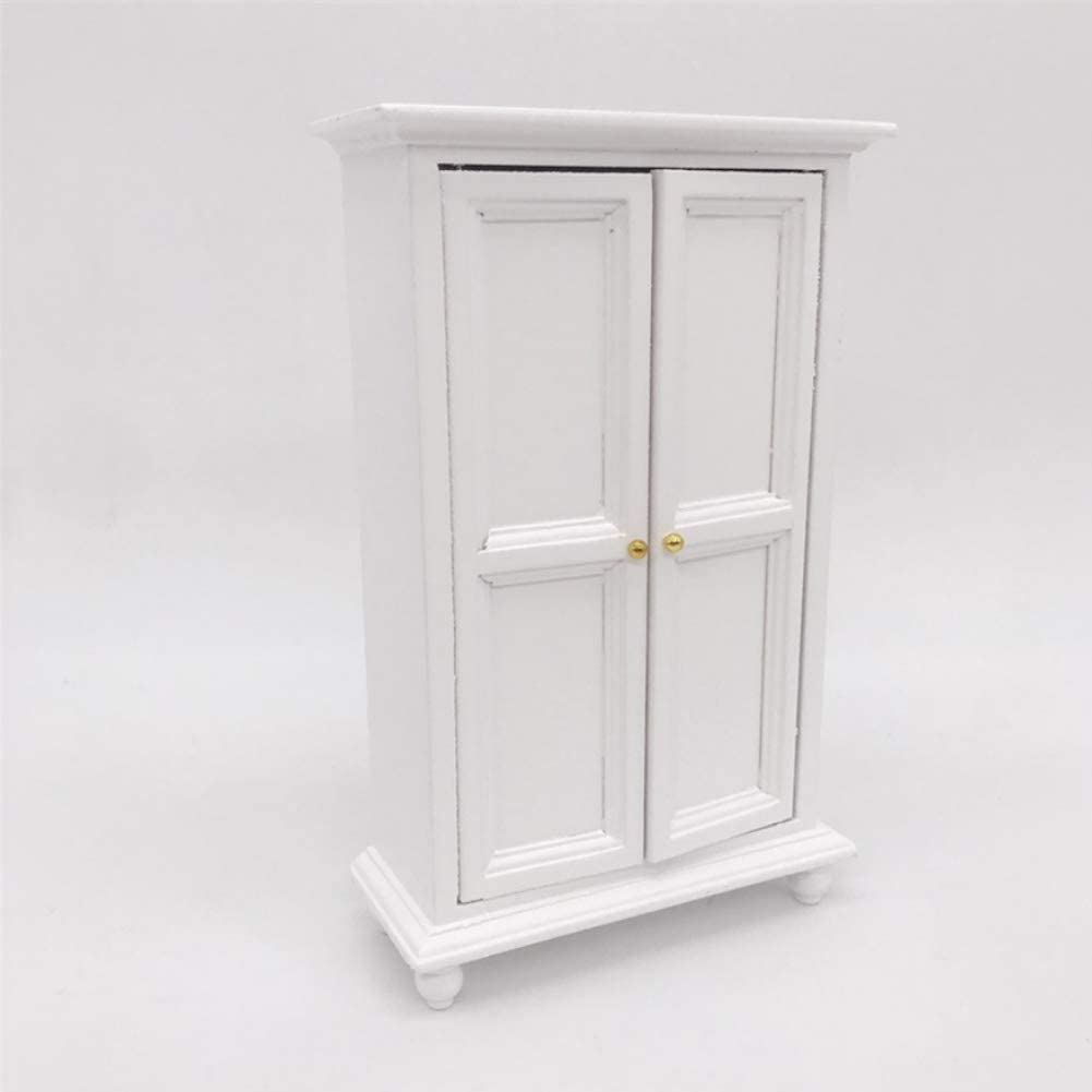 Dolls House Accessories,Miniature Dollhouse Furniture 1:12 Dollhouse Wooden Wardrobe for Living Room Bed Room Dollhouse Decoration White