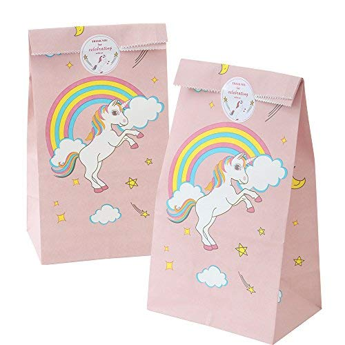 24pcs Unicorn Paper Bags + 24pcs Unicorn Thank You Stickers for Kids Birthday Party Decorations Pink Party Favors Gift Bags Rainbow Unicorn Party Supplies