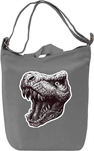 T-rex head Borsa Giornaliera Canvas Canvas Day Bag  100% Premium Cotton Canvas  DTG Printing 