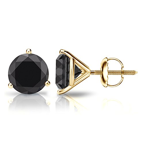 - Diamond Wish 14k Yellow Gold Round Solitaire Black Diamond Stud Earrings (4 carat TW) 3-Prong Martini, Screw-Back