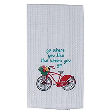Kay Dee Designs Enjoy The Ride Embroidered Bicycle Waffle Towel Red