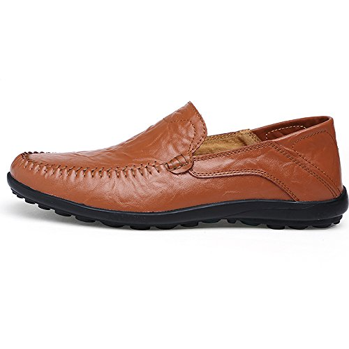 Leather Brown Driving Mens KRIMUS Loafers on Slip Shoes Casual Breathable v5F1qwz