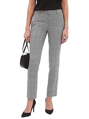 Banana Republic Women's Ryan Sttraight Leg Suit Pants Black White Plaid -