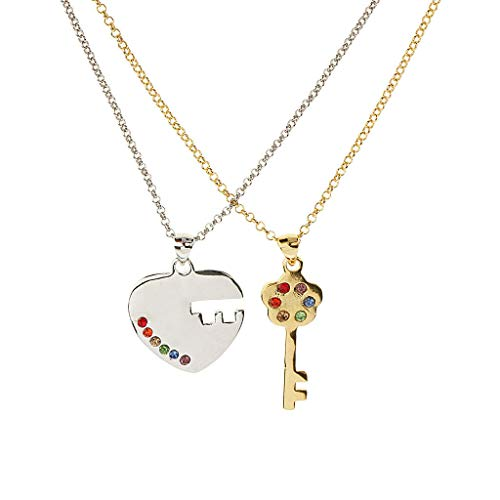 (Rainbow Heart Puzzle Key to Heart Matching Pendant Necklace LGBT Love Jewelry Necklace Jewelry Crafting Key Chain Bracelet Pendants Accessories Best| Item - Silver Heart Gold Key Matching)