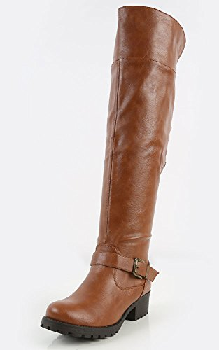 Side Stud 04 Womens MakeMeChic Chestnut Capture Boots Riding Bamboo nIqXPA