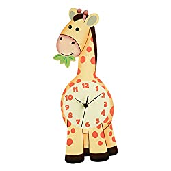Fantasy Fields Sunny Safari Kids Wall Clock, Silent, with Decorative Water-Based Paints for Kids and Nursery, Yellow/Giraffe, 16 Height