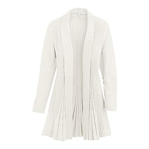 Cardigans for Women Long Sleeve Midweight Swingy Knit Cardigan Sweater W/Pocket-Ivory (Large)