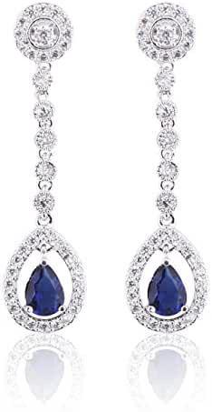 Hanie Silver Tone Long Dangle Drop Earrings Blue Sapphire Color Pear Crystal