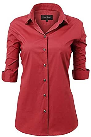 Harrms Womens Dress Shirts, Basic Long Sleeve Slim Fit Casual Button Up Shirt Stretch Formal Shirts - Red - L / 18