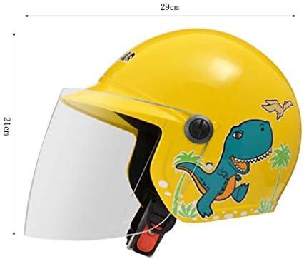 NJ ヘルメット- ヘルメットオートバイ電気自動車少年少女防風防滴調味料ヘルメット (色 : 黄, サイズ さいず : 29x23x21cm)