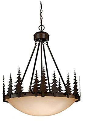 Vaxcel USA PD55524BBZ Yosemite 4 Light Rustic Foyer Pendant Lighting Fixture in Bronze, Glass
