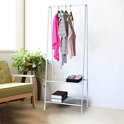 Maikouhai Entryway Stairway Bedroom Living Room Office Clothing Rack Coat Organizer Storage Shelf Unit Entryway Storage with 2-Tier Shelf, White ()
