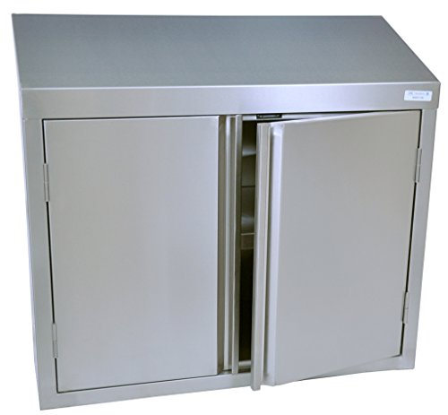BK Resources Wall Mounted 18 Gauge Stainless Steel Cabinet with Hinged Doors and Shelf, 24''W x 15''D x 32-1/2''H by BK Resources