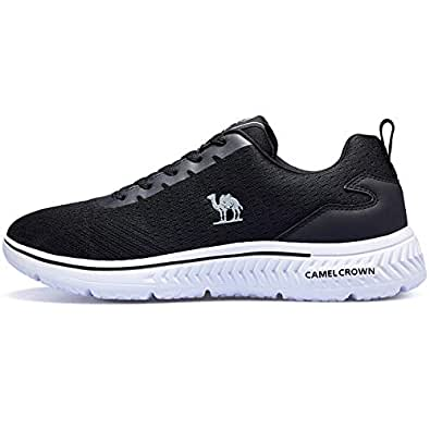 CAMEL Women/Men's Running Shoes Lightweight Fashion Sneakers Walking Footwear Tennis Athletic Shoes for Outdoor Sport Gym Black Size: 6