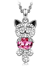 Jewelry for Teen Girls with a Luxury Gift Packing♥ -Lucky Cat- Crystals from Swarovski, Animals Pendant Necklace for Cat Lover