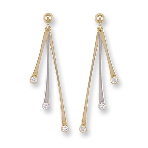 9ct 2de couleur blanc et jaune doré Fancy Dewdrop CZ Pendants d'oreilles 2.2G