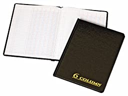 Adams Account Book, 7 x 9.25 Inches, Black, 6-Columns, 80 Pages (ARB8006M)