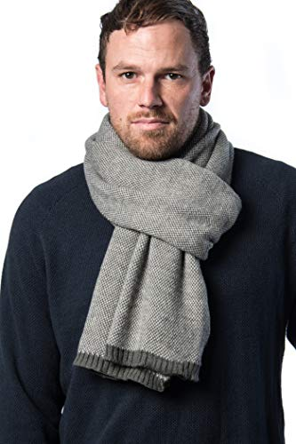 Mio Marino Winter Scarf for Men, Soft Knit Scarve, in an Elegant Gift Box - Gray