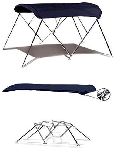 7oz NAVY 4 BOW ROUND TUBE BOAT BIMINI TOP SUNSHADE TOP FOR SEA RAY 190 SUNDECK W/ EXTD SWPF 2001-2002