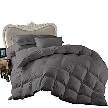 Image of 1 Piece Super King Comforter by Sunrizer Beddings 800 Thread Count 100% Egyptian Cotton Super Soft and Comfortable Solid Dark Grey Home and Kitchen