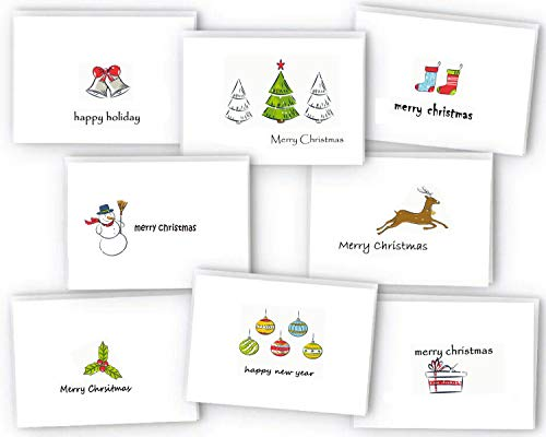 Set of 24 Christmas Cards Bulk Boxed Xmas Cards, Cute Happy Holiday Greeting Cards with Envelopes, Traditional Xmas Greeting Cards 8 Assorted Designs, 4 x 6 inches Envelopes Included