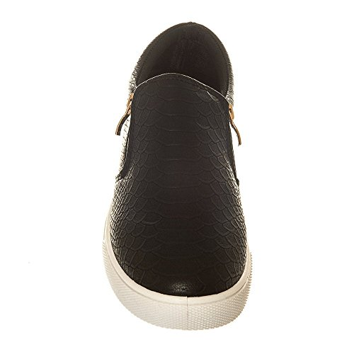 Ladies Side Zip Low Rubber Sole Skatter Shoe BLACK SOLE pN8WLpvjiG