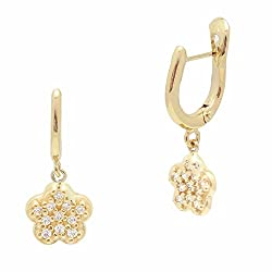 UNICORNJ Childrens 14k Yellow Gold Cubic Zirconia Pave Flower Dangle Leverback Earrings