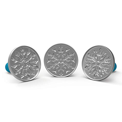 Nordic Ware 1275 Disney Frozen 2 Falling Snowflake Cast Cookie Stamps, Set of 3, Silver with Blue Handles