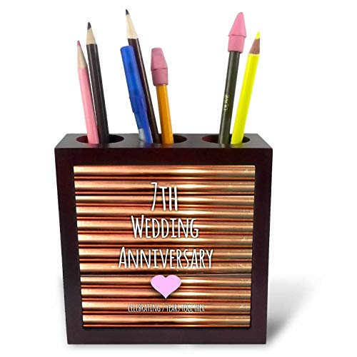 3dRose ph_154436_1 7th Wedding Copper Celebrating 7 Years Together Seventh Anniversaries Seven Tile Pen Holder, 5-Inch