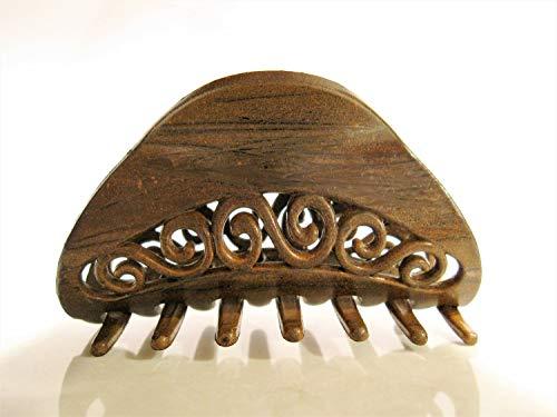 Faux wooden scroll hair claw clip barrette