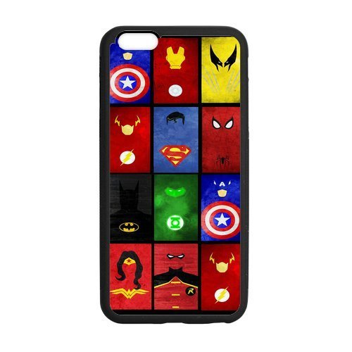 Marvel Superheroes Symbols Case Custom Durable Hard Cover Case for iPhone 6 Plus - 5.5 inches case - Black Case by SUUER