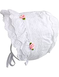 Cap Baby Girls 100% Cotton Double Brimmed Eyelet Lace Bonnet With Flowers