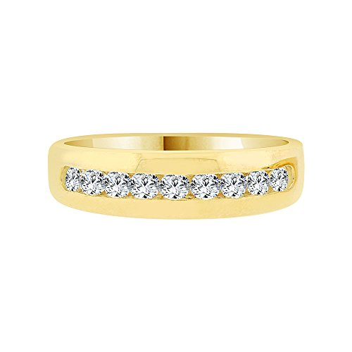 14k Yellow Gold, Elegant Polished Lady's Band Ring Created CZ Crystals Size 8 by GiveMeGold