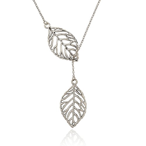 Silver Leaf Necklace (Jane Stone Fashion Pendant Necklace Leaf Y Shaped Statement Jewelry for Women Girls(Fn1454-Silver Tone))