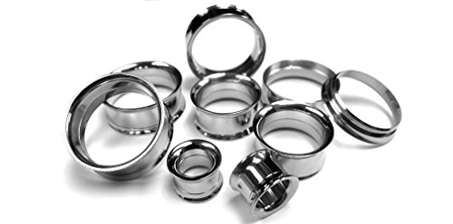 Pair of 4 Gauge (4G - 5mm) Stainless Steel Internally Threaded Tunnel - Jewelry Body Tunnels Threaded Plugs