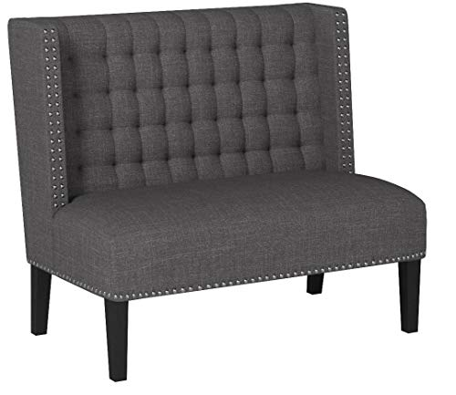Ravenna Home Sarah Tufted Wingback Nailhead Trim Loveseat Bench Settee, 32