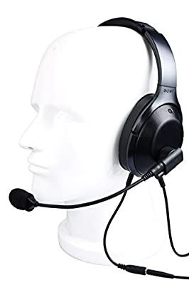 """""""Crystal Mic"""" Aviation Microphone for Noise Canceling Headphones. Transform your Sennheiser PCX 550/Bose QC35/Sony WH1000XM2 into an aviation headset"""