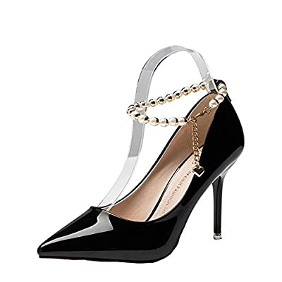 Ryse Women's Delicate Pearl Heart Pendant Buckle Temperament High Heels Pointy Shoes