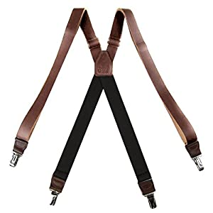 Genuine Leather Suspender for Men Made in USA X-Back Genuine Leather clip end tuxedo Leather suspenders