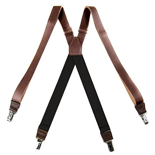 SUS-150-DBRO -Genuine Leather Suspender for Men Made in USA X-Back Genuine Leather clip end tuxedo Leather suspenders by Buy Your Ties