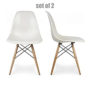 Classic Retro Style Home Office Dining Room Seats Posture Support Innovative Side Chair - Set of 2 White W/ Wooden Legs #566W