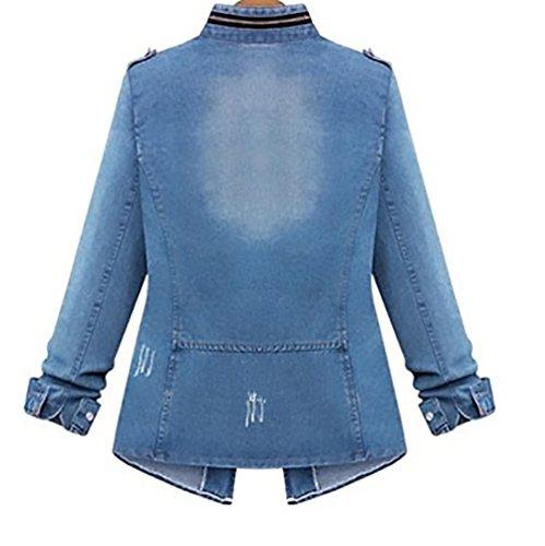 Sciolto Donna Giacca Cappotto Tasche Ragazza Women Forti Taglie Lunga Primavera Autunno Giacche Giovane Denim Grazioso Moda Jeans Classico Eleganti Blu Manica Con Giubbotto Bottoni raxRq5r0w