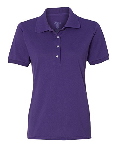 50 Outfits For Womens (Jerzees 437W Ladies Spotshield Jersey Polo - Deep Purple, Medium)