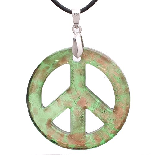 (Bleek2Sheek Murano-Inspired Glass Mint Green and Golden Flecked Peace Sign Pendant)