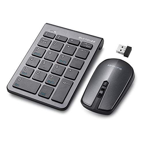 SurnQiee Numeric Keypad and Mouse Combo, 2.4G Wireless Ultra-Thin Keyboard and Mouse Set, Suitable for Desktop Computers, Laptops, Only Need a USB Receiver - Grey + Black ()
