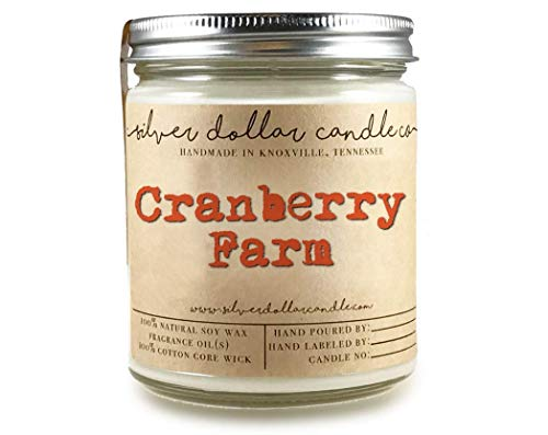 Silver Cranberry - Cranberry Scented Candle 100% Soy | Cranberry Farm by Silver Dollar Candle Co.